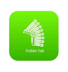 indian hat icon green vector image