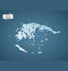 Isometric 3d greece map concept vector