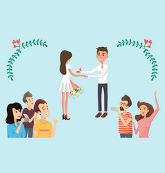 joyful bride and groom on festive ceremony banner vector image