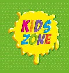 kids zone label splash icon vector image