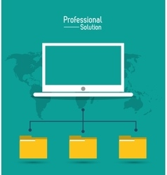 Laptop file icon Proffesional Solution vector
