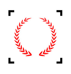 laurel wreath sign red icon inside black vector image
