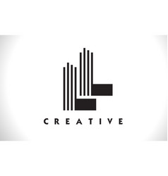 Ll logo letter with black lines design line letter vector