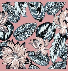 lotus flowers leaves seamless pattern pink vector image