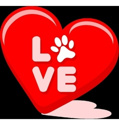 Love Symbol With Pet Paw In A Hart Shape vector image