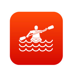 male athlete in a canoe icon digital red vector image