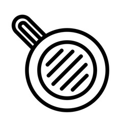 meal fry pan icon outline style vector image