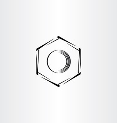 Mechanics hex nut icon stylized logo vector