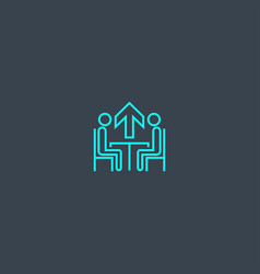 mentoring concept blue line icon simple thin vector image
