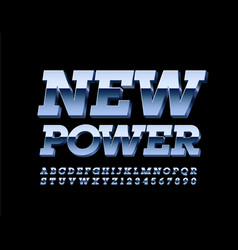 metal banner new power modern silver font vector image