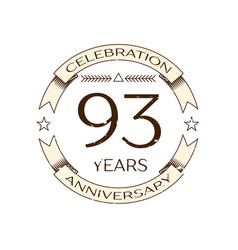 Ninety three years anniversary celebration logo vector