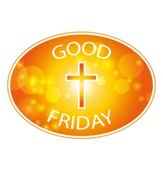 Orange cross with text Good Friday banner vector image