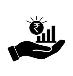 Palm out inr indian rupee growth bar chart black vector