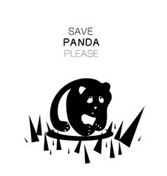 Panda silhouette and slogan vector
