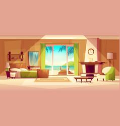 panorama of villa interior bedroom of vector image