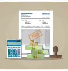 Paper invoice paid stamp calculator cash money vector