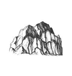 Peak rocky mountain landscape vintage vector