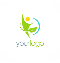 people green leaf organic logo vector image