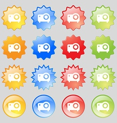 Projector icon sign Set from sixteen multi-colored vector