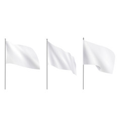 realistic white advertising textile flags various vector image