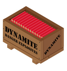 Red dynamite tnt stick in wooden box danger vector