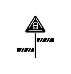 road sign black icon sign on isolated vector image