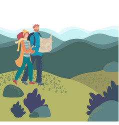 Romantic couple hiking in mountains vector