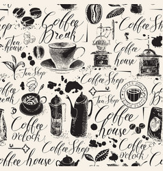 seamless background on theme coffee house vector image
