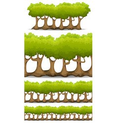 Seamless forest trees hedges and bush set for vector