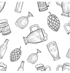 seamless pattern with beer mugs and hop vintage vector image