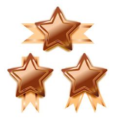 Set of bright bronze awards in star shape vector