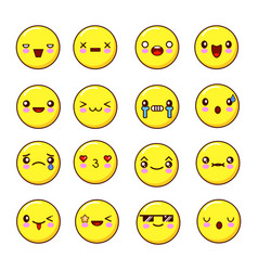 set of emoticons smiles set of emoji flat design vector image