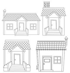 Set simple house outline vector