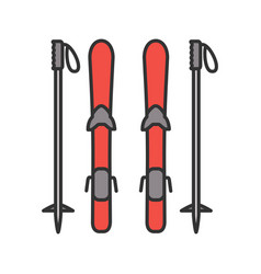 skiing equipment color icon vector image