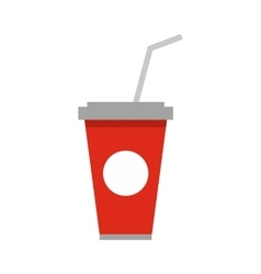 Soft drink in a red paper cup with lid icon vector