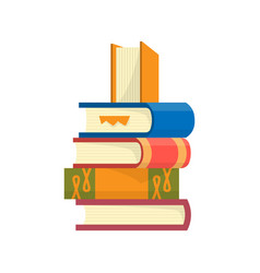 stack books on a white background pile vector image