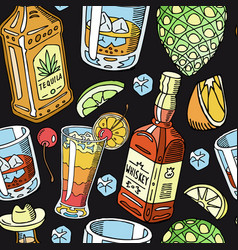 tequila and whiskey drink liquid seamless pattern vector image