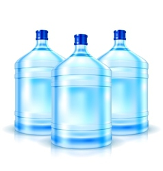 Three big bottles with clean water vector