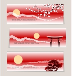 Three Japanese landscape banners vector