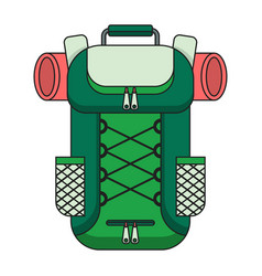 Tourist backpack color outline icon vector