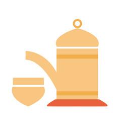 traditional teapot and cup ramadan arabic islamic vector image