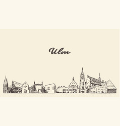 ulm skyline baden wurttemberg germany drawn vector image