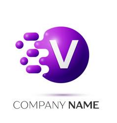 V letter splash logo purple dots circle bubble vector