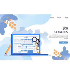 Vacancy job search employee character at laptop vector