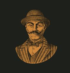 victorian gentleman belgian man with mustache vector image