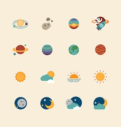 web icons set - space sun and moon vector image