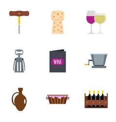 Wine restaurant icon set flat style vector