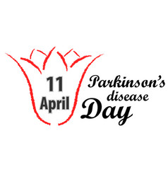 World parkinson day red tulip and text vector