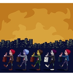 Zombies walking in the city at night vector image vector image