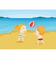 At the beach vector image